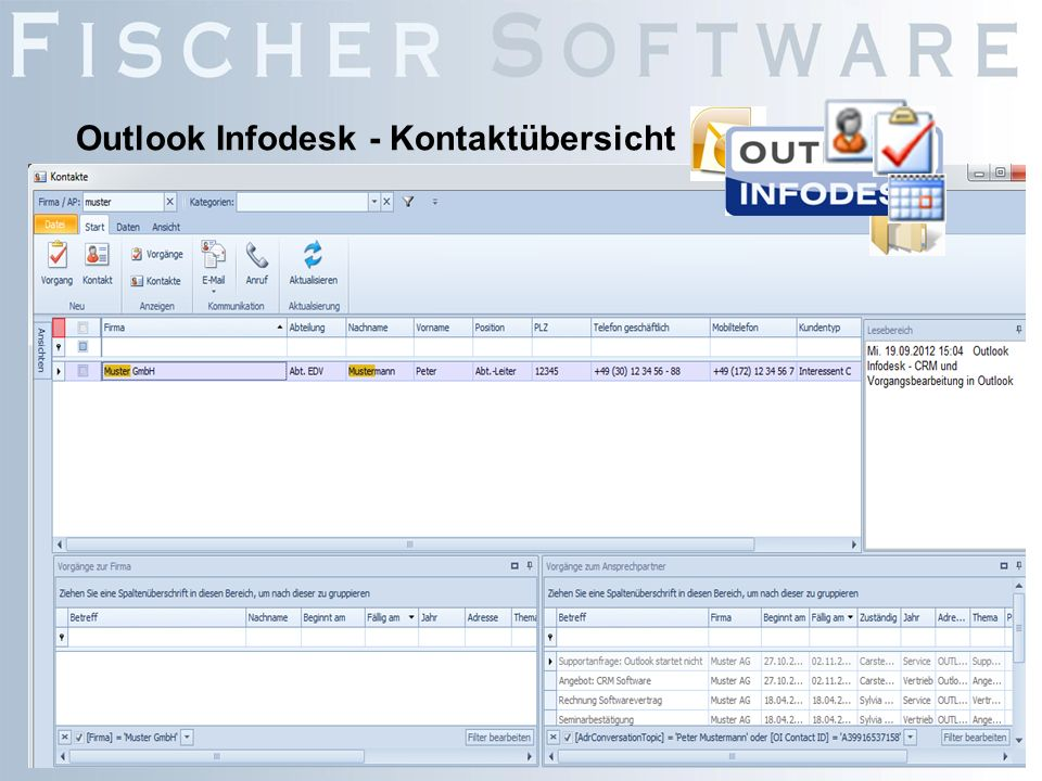 Outlook Infodesk - Kontaktübersicht