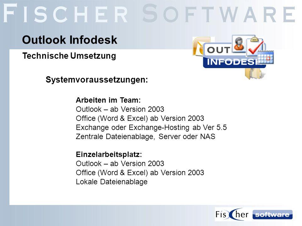 Outlook Infodesk Technische Umsetzung Systemvoraussetzungen: