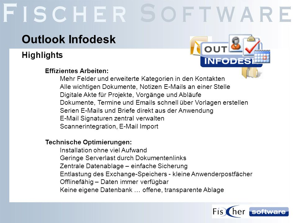 Outlook Infodesk Highlights Effizientes Arbeiten: