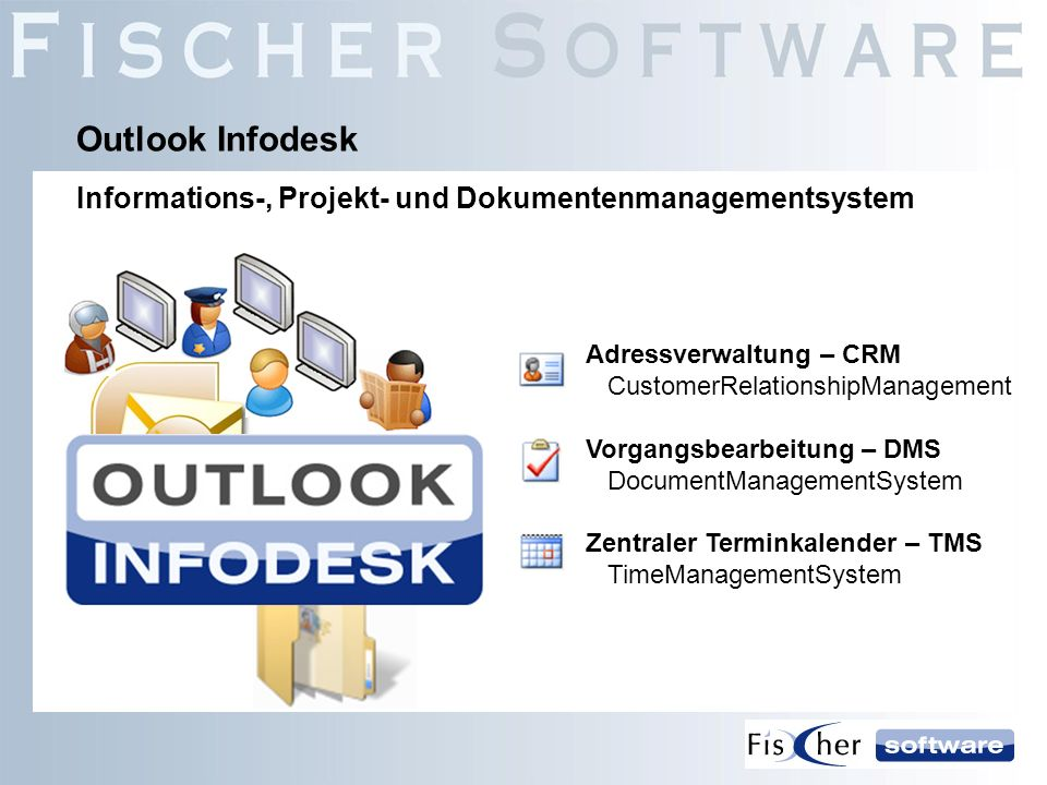 Outlook InfodeskInformations-, Projekt- und Dokumentenmanagementsystem. Adressverwaltung – CRM CustomerRelationshipManagement.