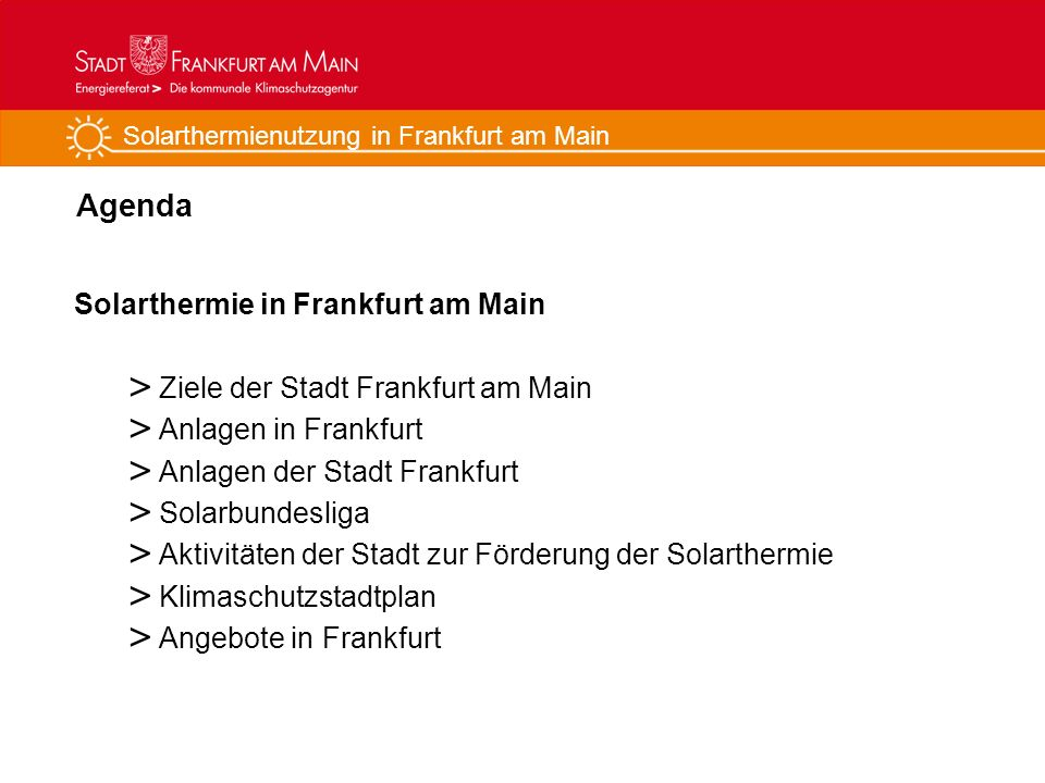 Agenda Solarthermie in Frankfurt am Main