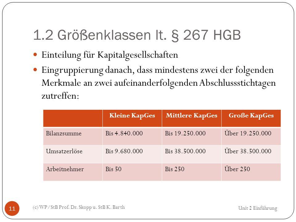 1.2 Größenklassen lt. § 267 HGB Einteilung für Kapitalgesellschaften