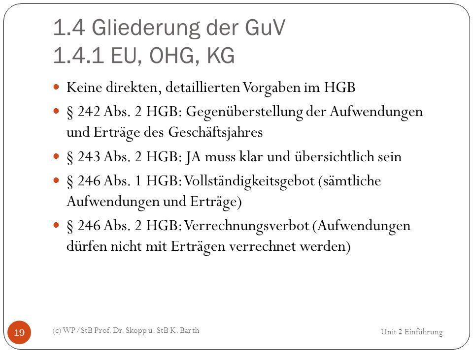 1.4 Gliederung der GuV 1.4.1 EU, OHG, KG