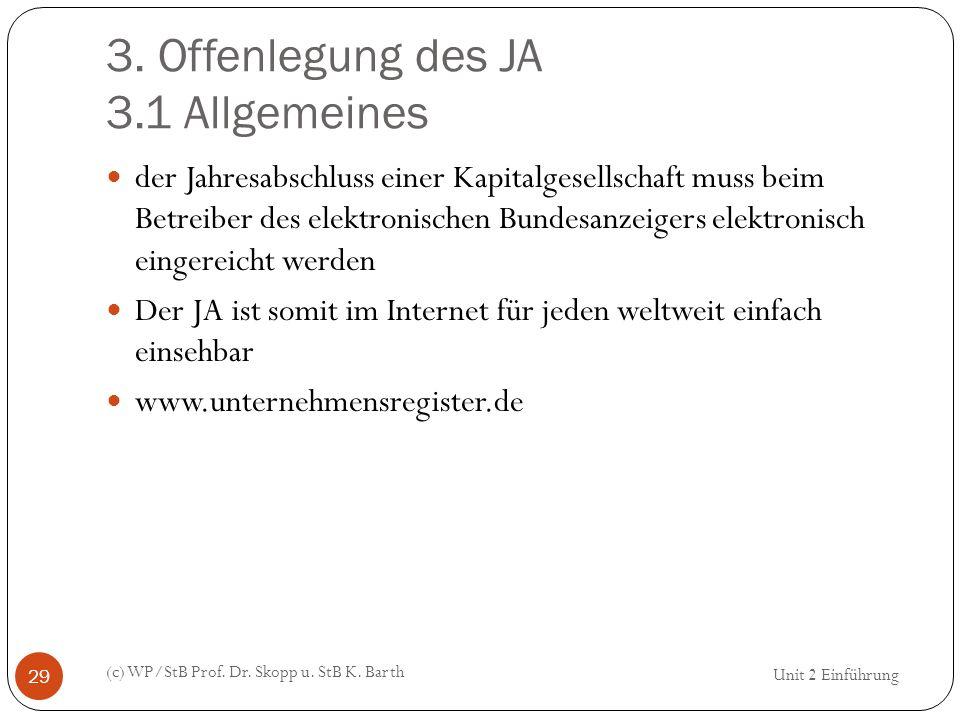3. Offenlegung des JA 3.1 Allgemeines