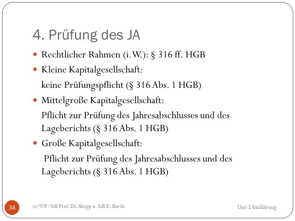 4. Prüfung des JA Rechtlicher Rahmen (i.W.): § 316 ff. HGB