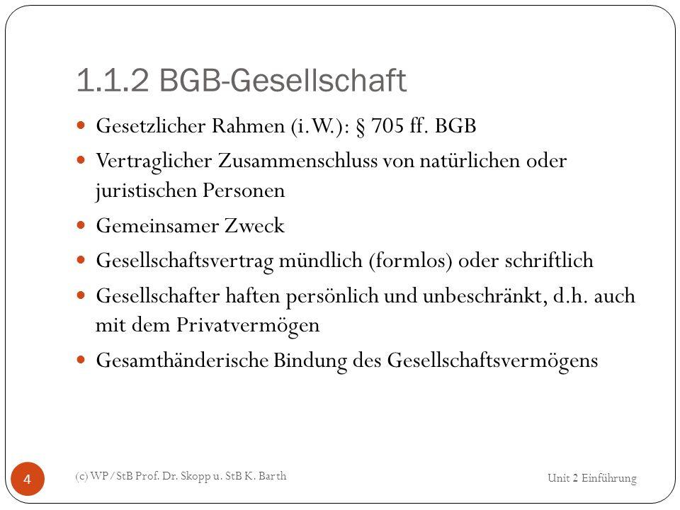 1.1.2 BGB-Gesellschaft Gesetzlicher Rahmen (i.W.): § 705 ff. BGB