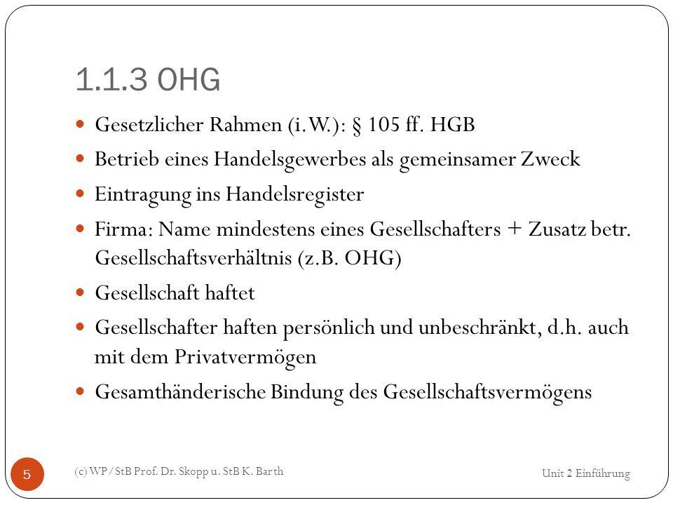 1.1.3 OHG Gesetzlicher Rahmen (i.W.): § 105 ff. HGB