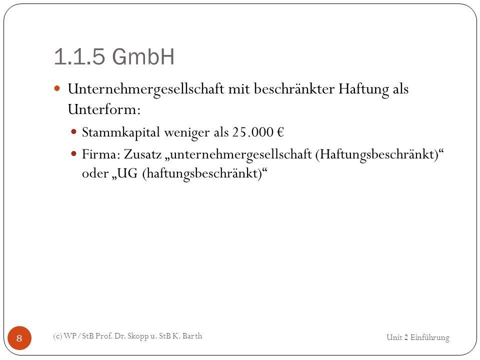 1.1.5 GmbH Unternehmergesellschaft mit beschränkter Haftung als Unterform: Stammkapital weniger als 25.000 €