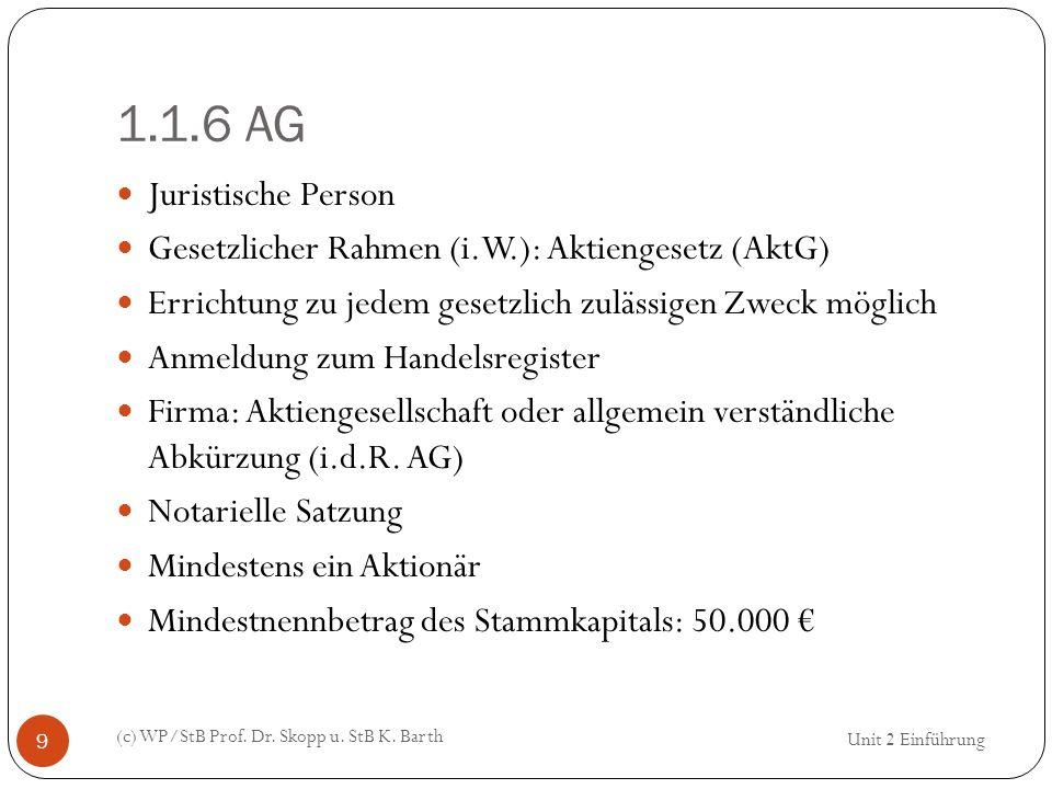 1.1.6 AG Juristische Person. Gesetzlicher Rahmen (i.W.): Aktiengesetz (AktG) Errichtung zu jedem gesetzlich zulässigen Zweck möglich.