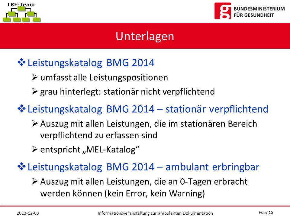 Unterlagen Leistungskatalog BMG 2014