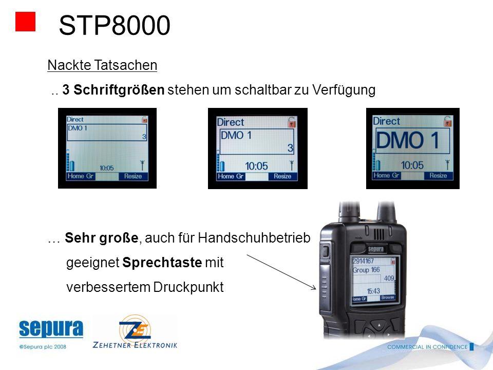 STP8000 Nackte Tatsachen. .. 3 Schriftgrößen stehen um schaltbar zu Verfügung. … Sehr große, auch für Handschuhbetrieb.
