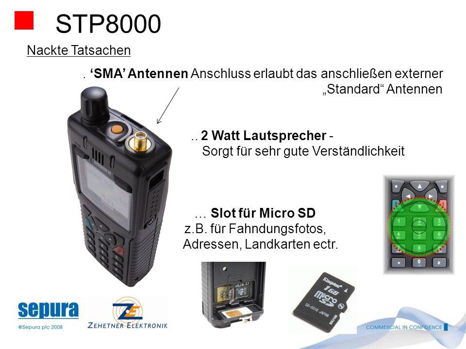 """STP8000 Nackte Tatsachen. . 'SMA' Antennen Anschluss erlaubt das anschließen externer. """"Standard Antennen."""