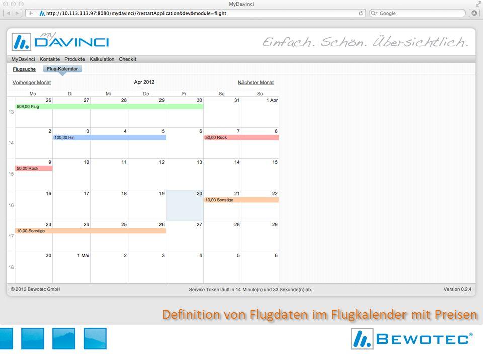 Definition von Flugdaten im Flugkalender mit Preisen