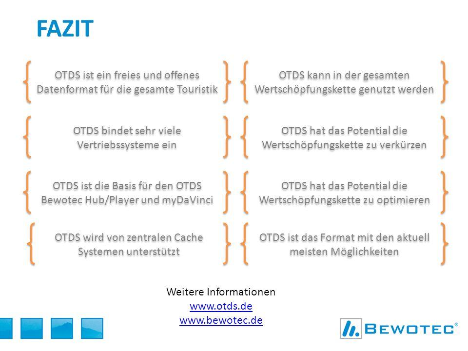 fazit OTDS ist ein freies und offenes Datenformat für die gesamte Touristik. OTDS kann in der gesamten Wertschöpfungskette genutzt werden.