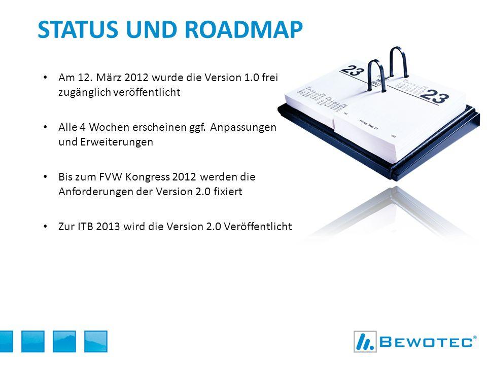 Status und Roadmap Am 12. März 2012 wurde die Version 1.0 frei zugänglich veröffentlicht.