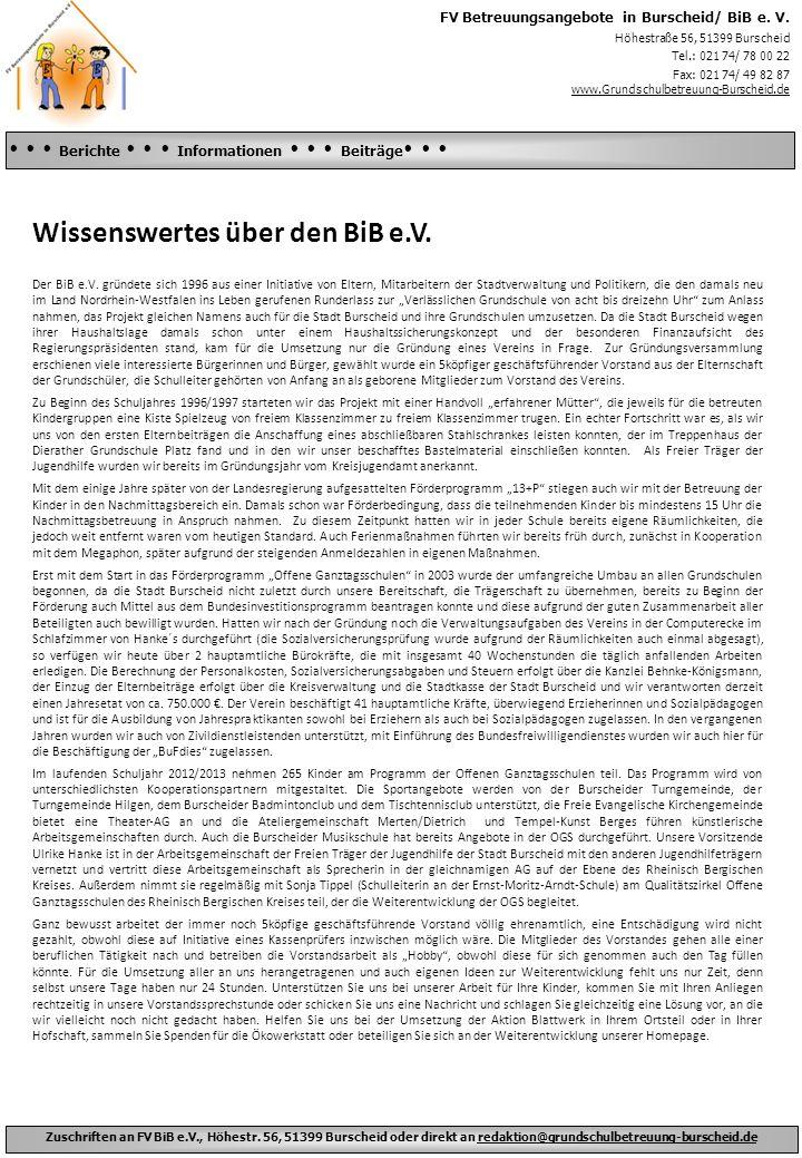 Wissenswertes über den BiB e.V.