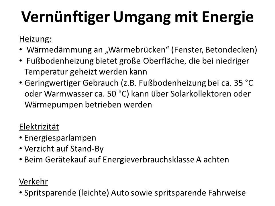 Vernünftiger Umgang mit Energie
