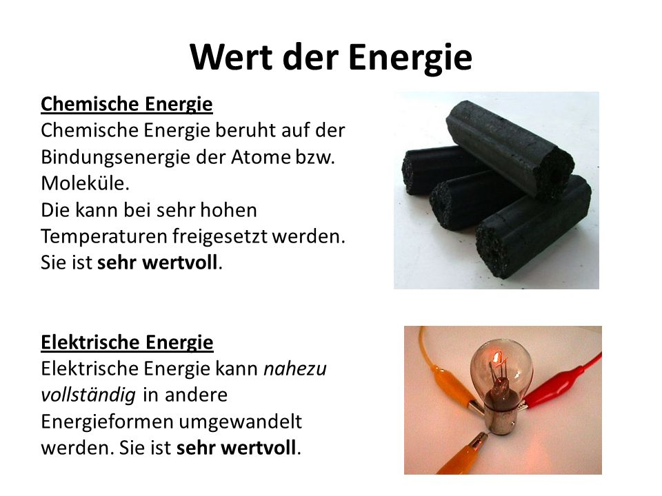 Wert der Energie Chemische Energie