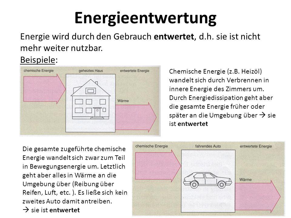 Energieentwertung Energie wird durch den Gebrauch entwertet, d.h. sie ist nicht mehr weiter nutzbar.