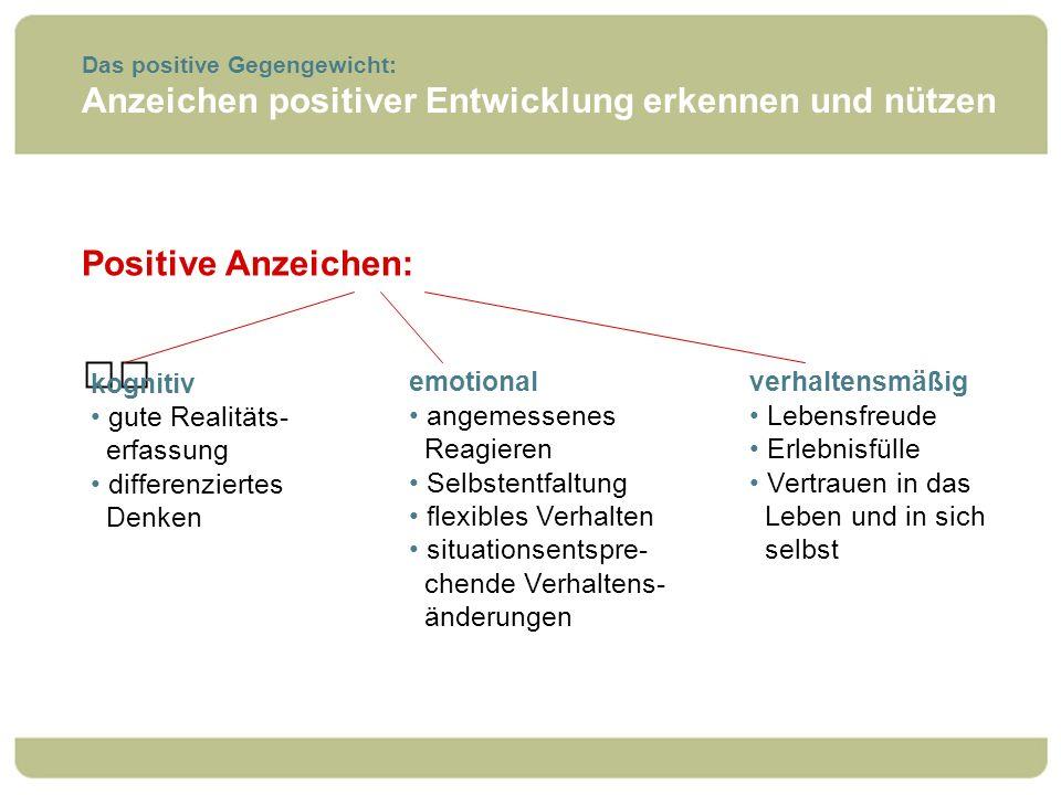Anzeichen positiver Entwicklung erkennen und nützen