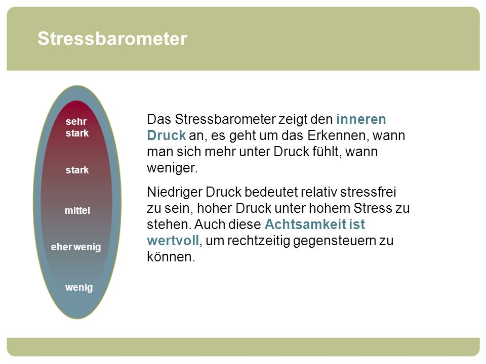 Stressbarometer sehr stark. stark. mittel. eher wenig. wenig.