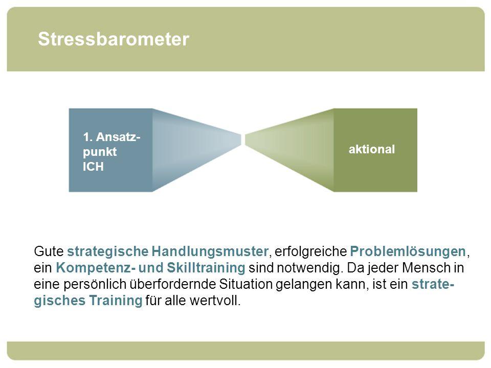 Stressbarometer 1. Ansatz- punkt ICH. aktional. Gute strategische Handlungsmuster, erfolgreiche Problemlösungen,
