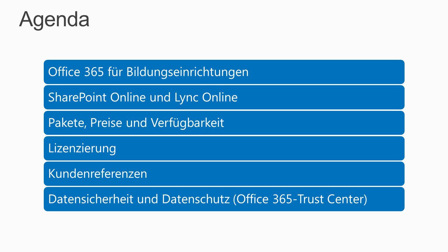 Agenda Office 365 für Bildungseinrichtungen