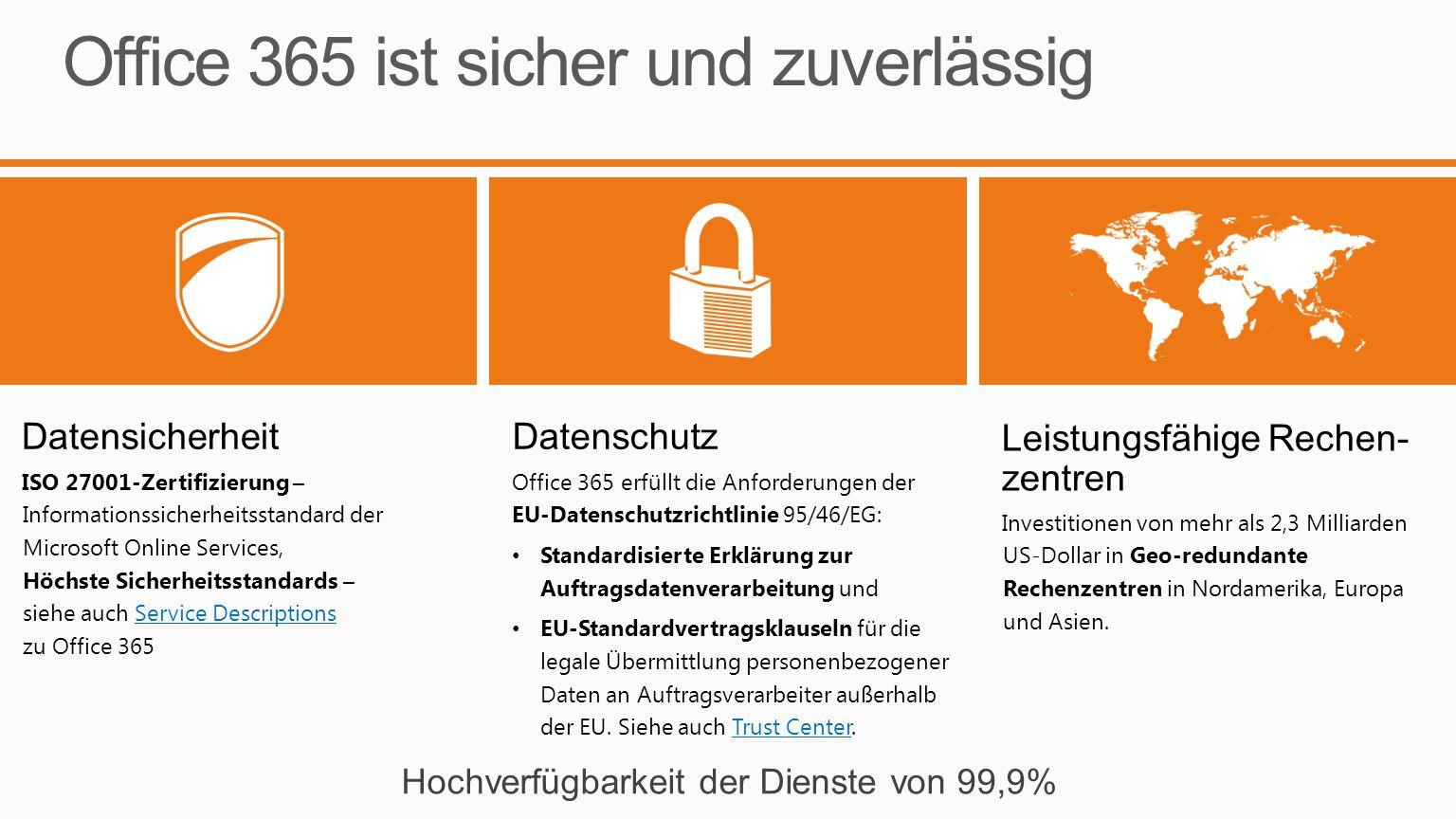 Office 365 ist sicher und zuverlässig