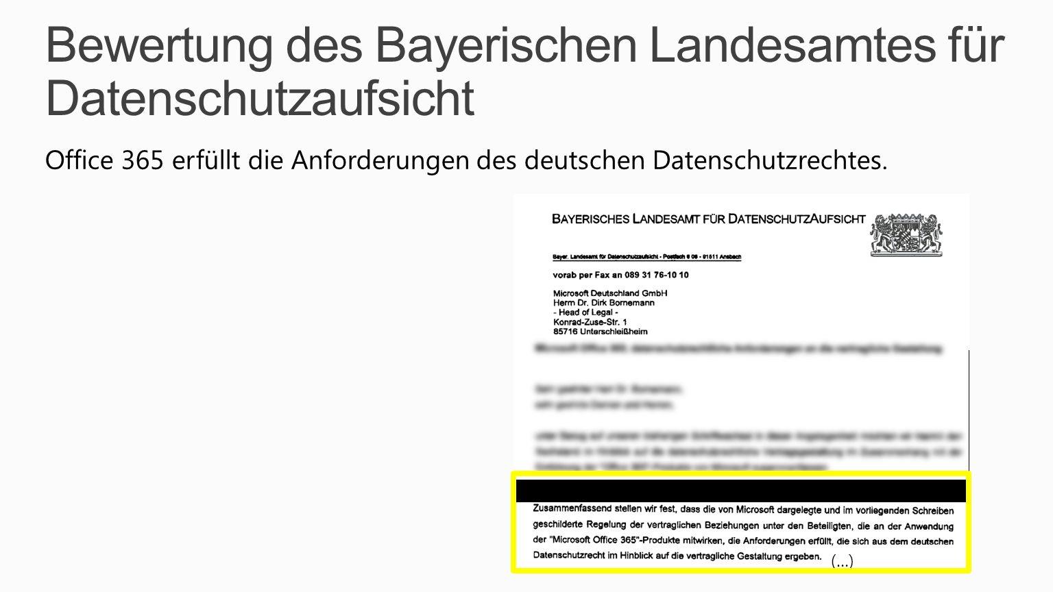 Bewertung des Bayerischen Landesamtes für Datenschutzaufsicht