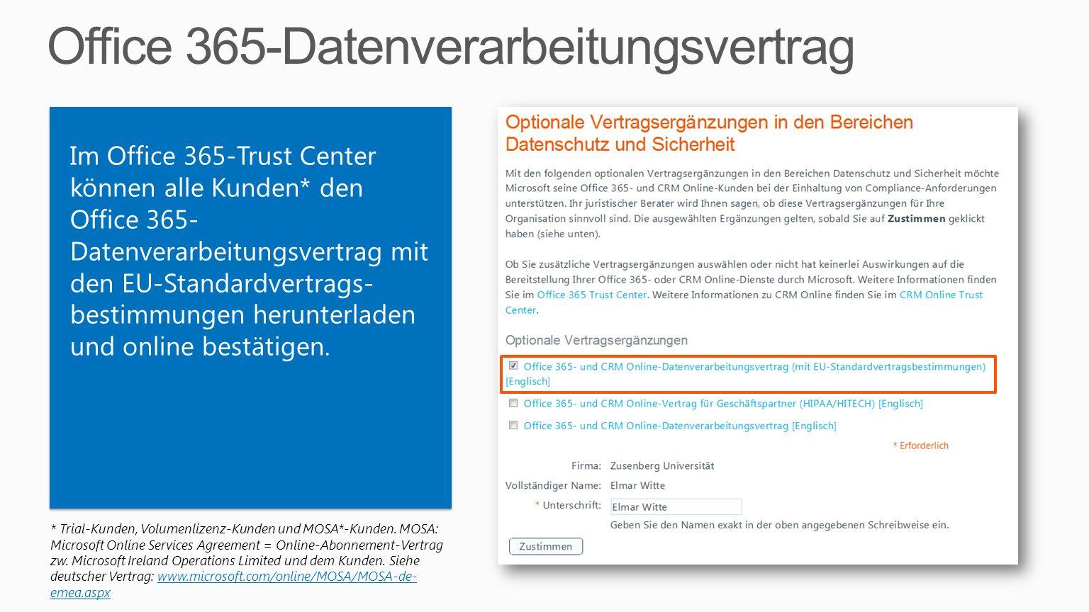 Office 365-Datenverarbeitungsvertrag