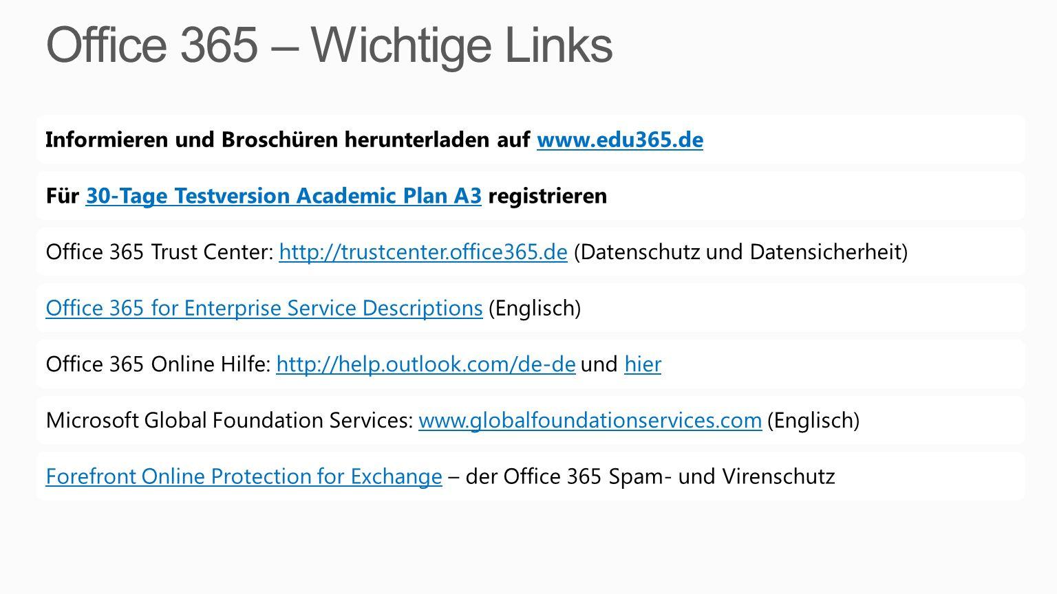 Office 365 – Wichtige Links