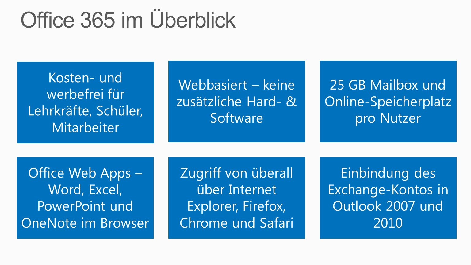 Office 365 im Überblick Kosten- und werbefrei für Lehrkräfte, Schüler, Mitarbeiter. Webbasiert – keine zusätzliche Hard- & Software.