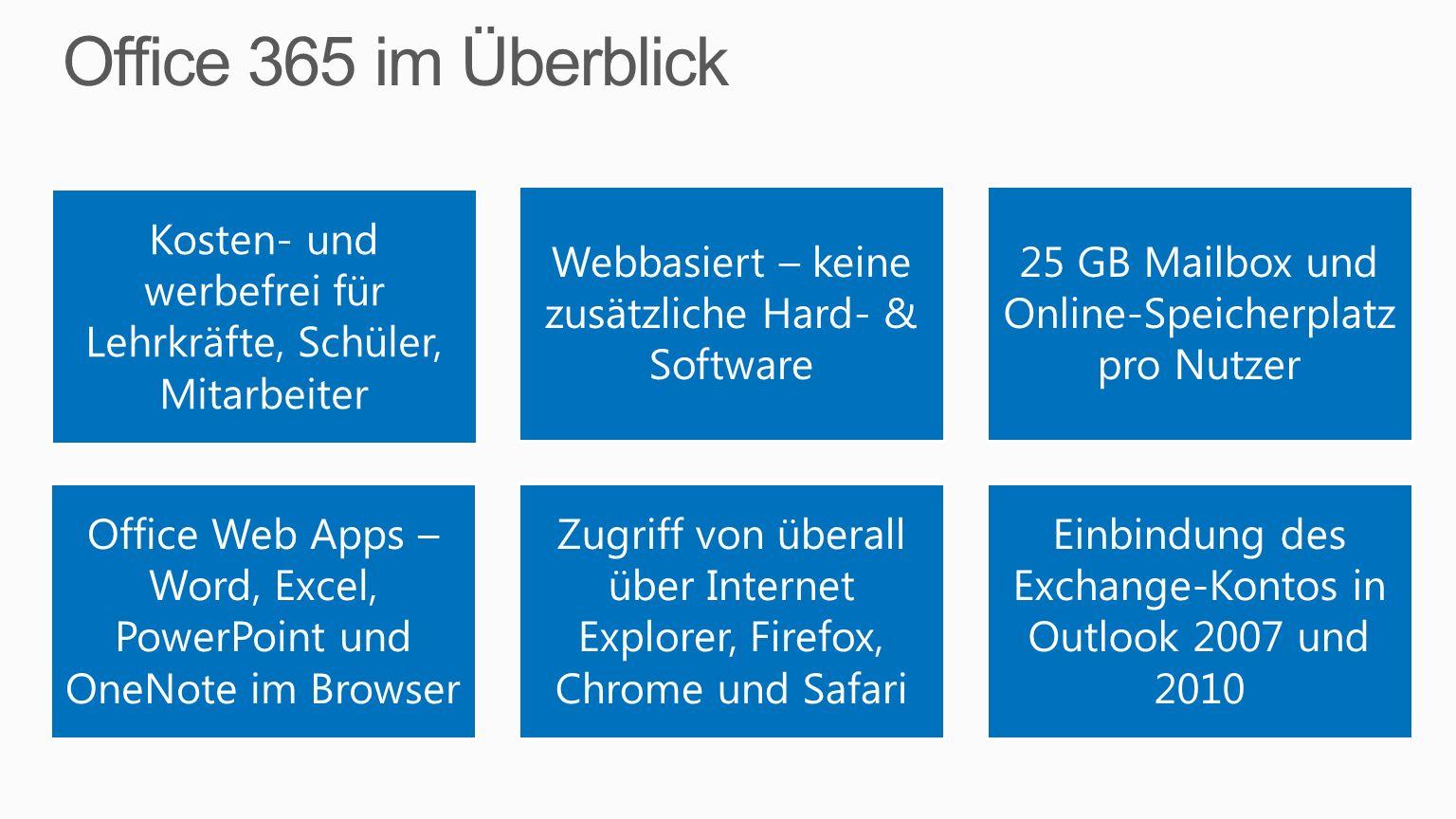 Office 365 im ÜberblickKosten- und werbefrei für Lehrkräfte, Schüler, Mitarbeiter. Webbasiert – keine zusätzliche Hard- & Software.