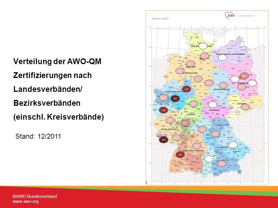 Verteilung der AWO-QM Zertifizierungen nach Landesverbänden/ Bezirksverbänden (einschl. Kreisverbände)