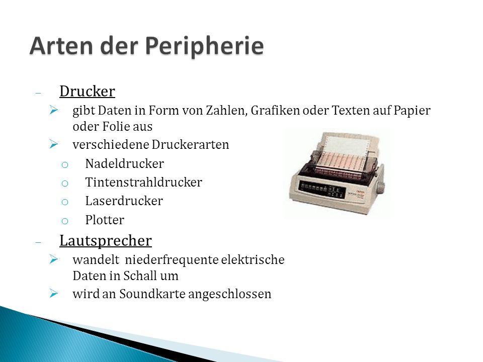 Arten der Peripherie Drucker Lautsprecher