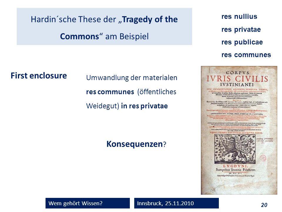 """Hardin´sche These der """"Tragedy of the Commons am Beispiel"""