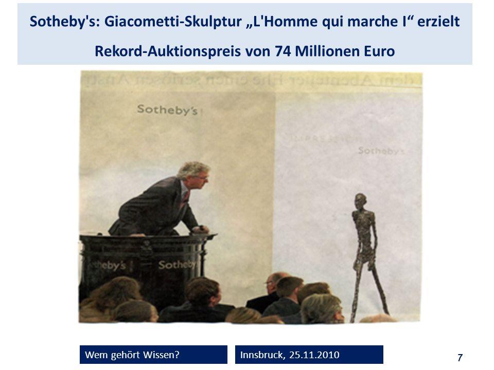 """Sotheby s: Giacometti-Skulptur """"L Homme qui marche I erzielt Rekord-Auktionspreis von 74 Millionen Euro"""