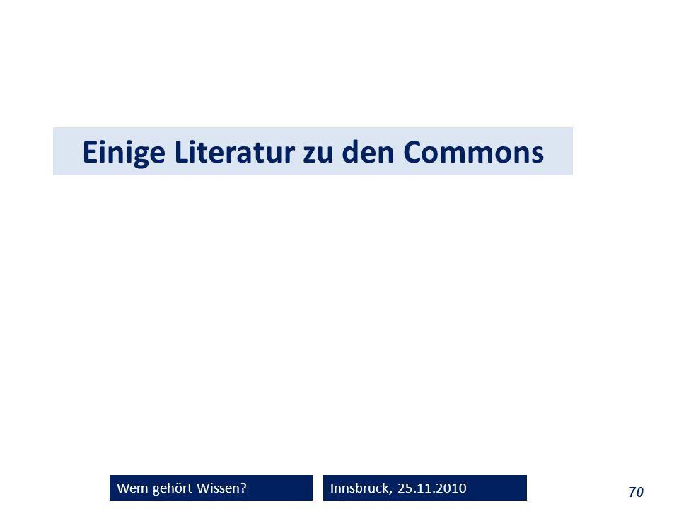 Einige Literatur zu den Commons