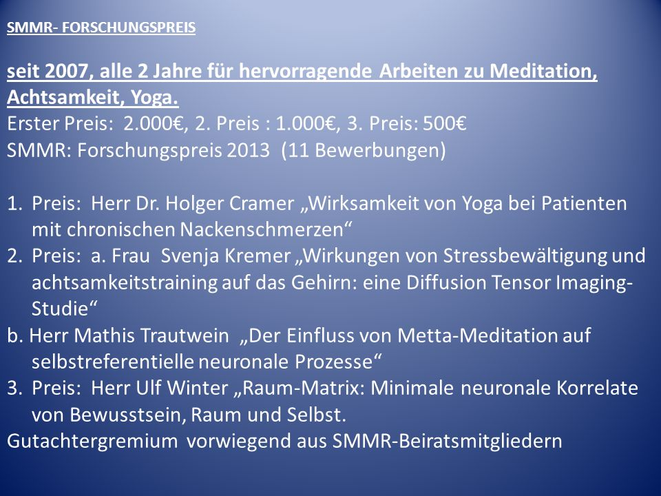 Erster Preis: 2.000€, 2. Preis : 1.000€, 3. Preis: 500€
