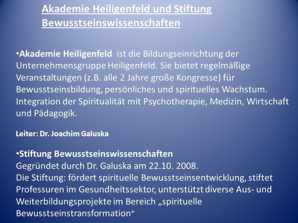 Akademie Heiligenfeld und Stiftung Bewusstseinswissenschaften