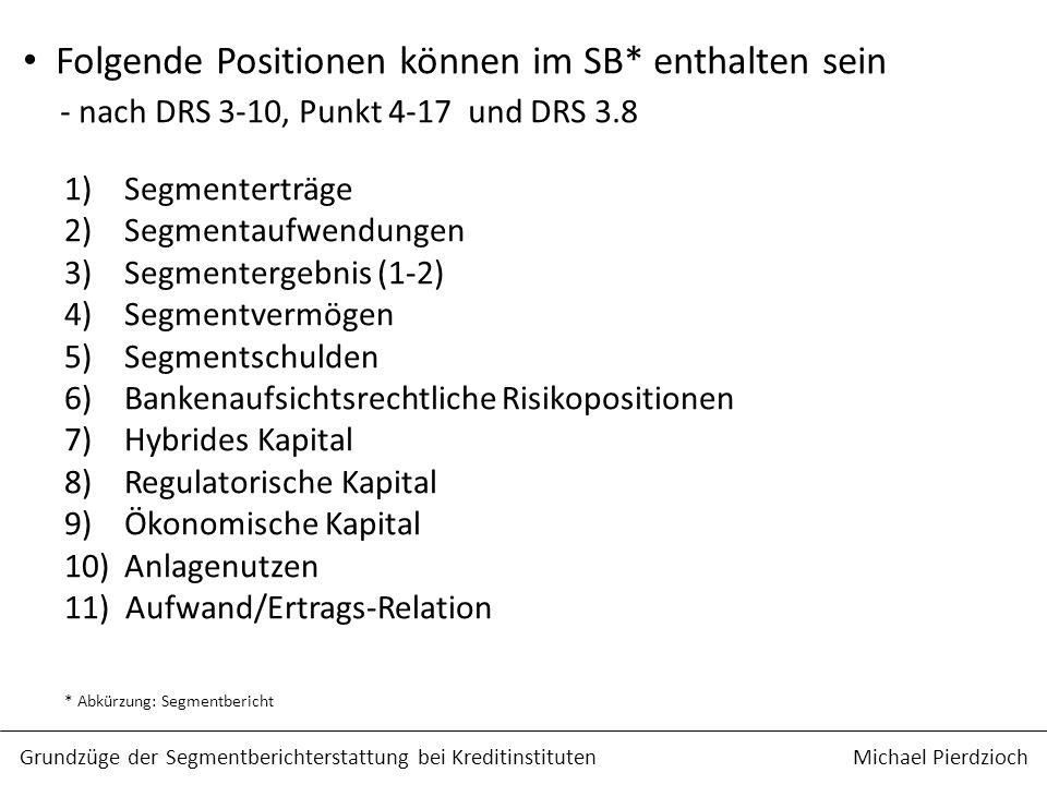 Folgende Positionen können im SB* enthalten sein