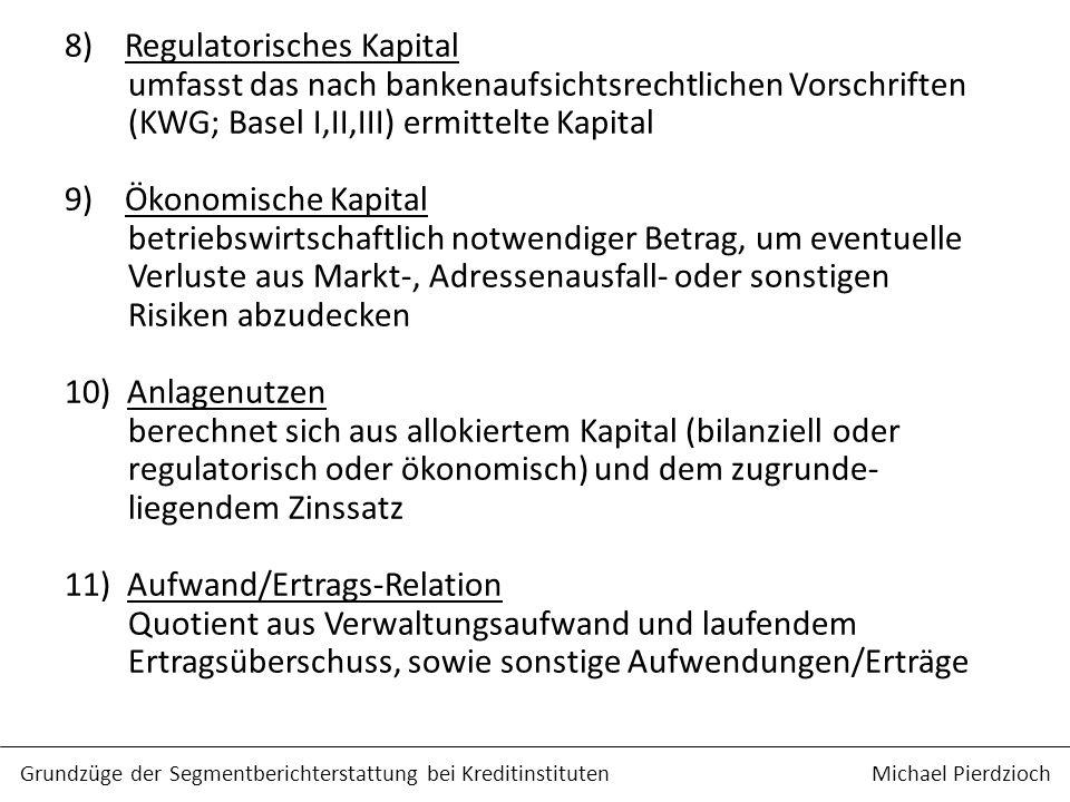 8) Regulatorisches Kapital umfasst das nach bankenaufsichtsrechtlichen Vorschriften (KWG; Basel I,II,III) ermittelte Kapital 9) Ökonomische Kapital betriebswirtschaftlich notwendiger Betrag, um eventuelle Verluste aus Markt-, Adressenausfall- oder sonstigen Risiken abzudecken 10) Anlagenutzen berechnet sich aus allokiertem Kapital (bilanziell oder regulatorisch oder ökonomisch) und dem zugrunde- liegendem Zinssatz 11) Aufwand/Ertrags-Relation Quotient aus Verwaltungsaufwand und laufendem Ertragsüberschuss, sowie sonstige Aufwendungen/Erträge