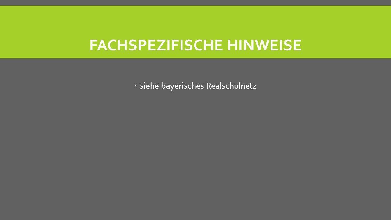 FACHSPEZIFISCHE HINWEISE