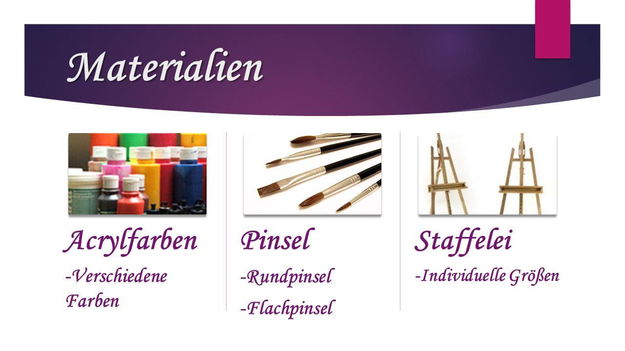 Materialien Acrylfarben Pinsel Staffelei -Verschiedene Farben