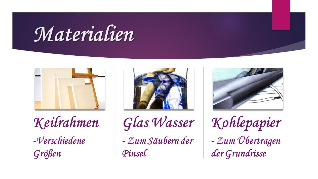 Materialien Keilrahmen Glas Wasser Kohlepapier -Verschiedene Größen