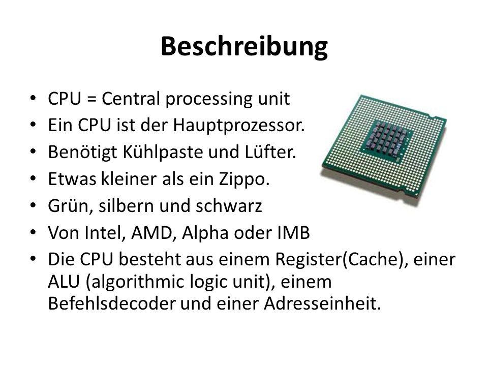 Beschreibung CPU = Central processing unit
