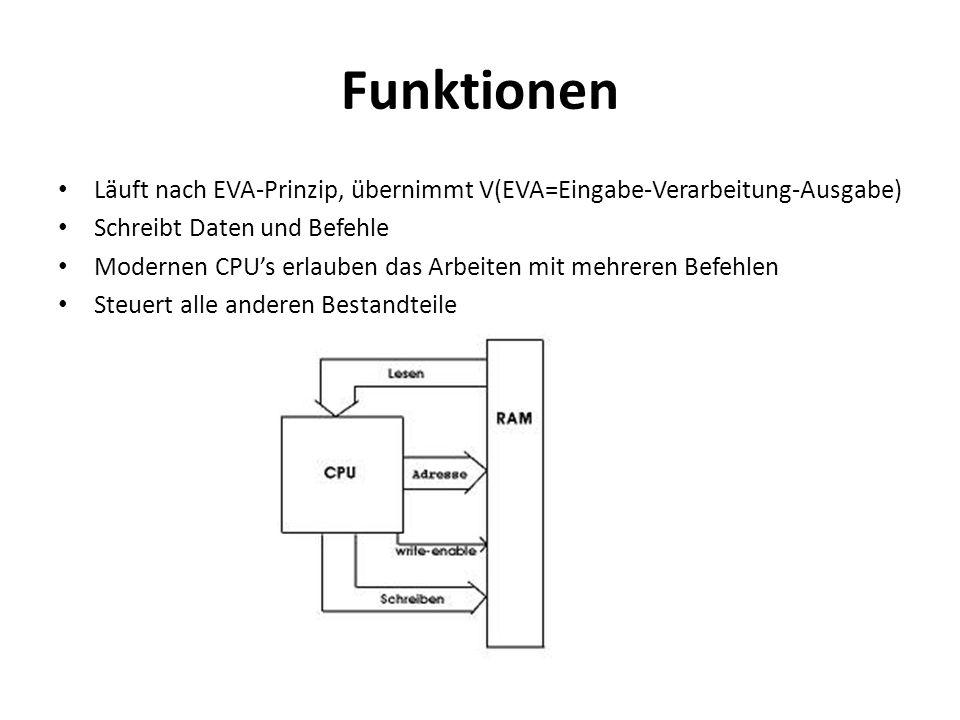 Funktionen Läuft nach EVA-Prinzip, übernimmt V(EVA=Eingabe-Verarbeitung-Ausgabe) Schreibt Daten und Befehle.