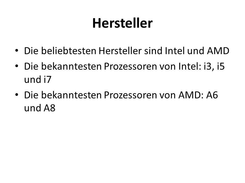 Hersteller Die beliebtesten Hersteller sind Intel und AMD