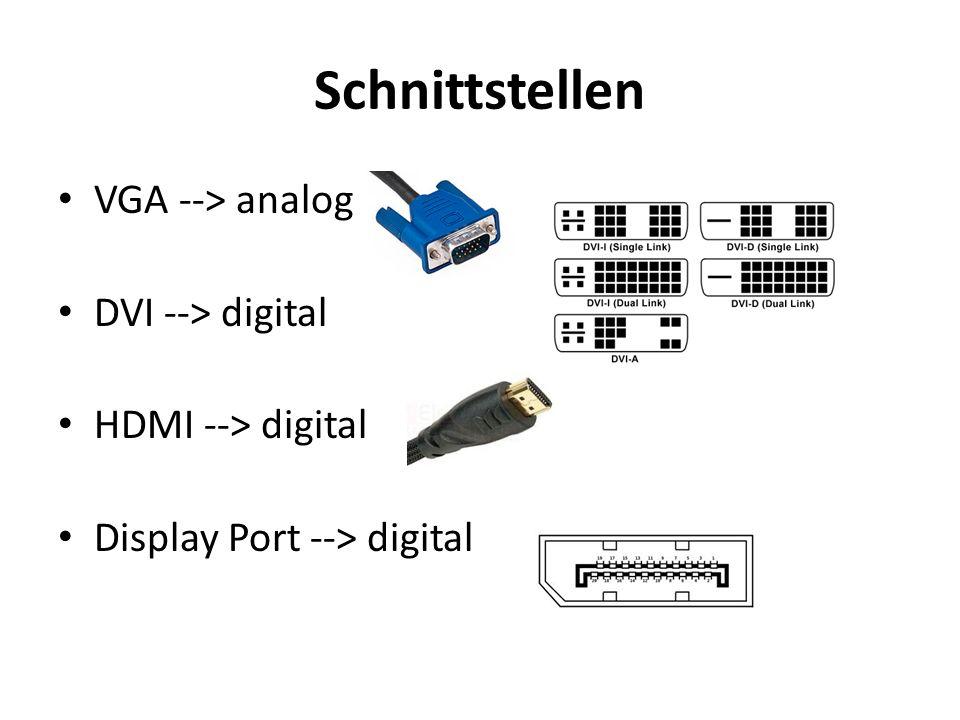 Schnittstellen VGA --> analog DVI --> digital