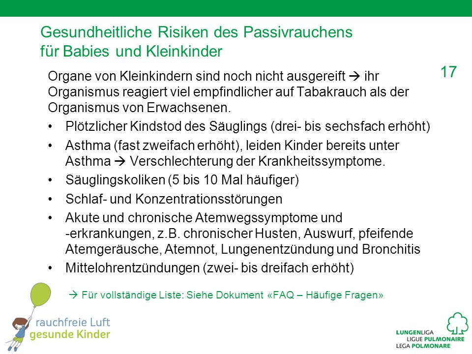 Gesundheitliche Risiken des Passivrauchens für Babies und Kleinkinder